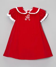 Take a look at this Red Peter Pan Corduroy Initial Dress - Infant & Toddler by Smockadot Kids on #zulily today!