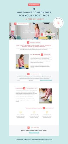 8 Must-Have Components For Your About Page  +  A Free Divi Layout  | I'm sharing 8 must-have components for your About page that captures who you are + encourages people to want to work with you.  Design With Divi is a new weekly blogging series for creative entrepreneurs where I share tips and tutorials that will help your Divi website stand out beautifully. Want to stay in the loop? Head on over to the blog and be sure to follow the hashtag #DesignWithDivi on Instagram.
