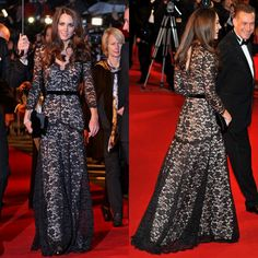 Kate Middleton in a Temperley London Black Lace Gown Kate Middleton Stil, Kate Middleton Dress, Princess Kate Middleton, Long Sleeve Evening Gowns, Lace Evening Gowns, Black Lace Gown, Lace Dress, Lace Maxi, Gown Dress