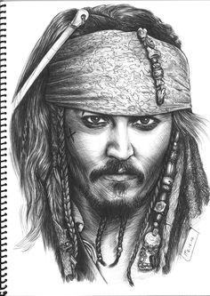 Johnny Deep by RobertoBizama on deviantART - Art Sketches Jack Sparrow Drawing, Jack Sparrow Tattoos, Sparrow Art, Realistic Pencil Drawings, Pencil Art Drawings, Art Drawings Sketches, Cool Drawings, Drawing Art, L'art Du Portrait
