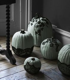 6 Ways to Style a Pumkin without Carving. Isn't this lacey one super gothic and creepy?