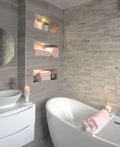Dream Bathrooms, Beautiful Bathrooms, Small Bathroom, Bathroom Pink, Dream Home Design, Home Interior Design, House Design, Bathroom Design Luxury, Modern Bathroom Design