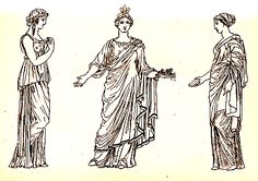 Greek chiton (left) and chiton worn under himation Ancient Greece Clothing, Ancient Greece Fashion, Greek Fashion, Roman Fashion, Greek Chiton, Ancient Greek Costumes, Roman Clothes, Greek Men, Late Middle Ages