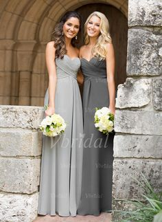 Bridesmaid Dresses - $89.00 - A-Line/Princess Strapless Sweetheart Floor-Length Chiffon Bridesmaid Dress With Ruffle (00705006411)