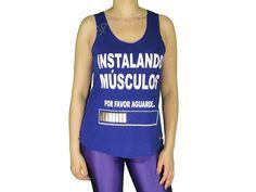 Regatas Femininas | Regata Cavada Longa Instalando Músculos Por Favor Aguarde Azul Acesse: http://www.spbolsas.com.br/atacado/ #Regatas #Femininas #Atacado