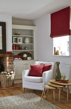 Shop our Range of Made to Measure Roman Blinds. Book a FREE In-Home Design Appointment or Order Free Samples Now! Red Blinds, White Blinds, Blinds For Windows, Shutter Blinds, Exposed Brick Fireplaces, Brown Lounge, Made To Measure Blinds, Red Interiors, Country Interiors