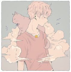 A pastel pink anime illustration of a boy and his cat .. surrounded by clouds.