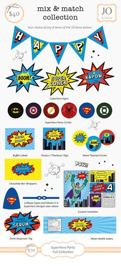 Parintable Collection for a Superhero / Villan Party by JoStudioPartyPaperie / Superhero / Villan Sweet Table / Kids Party / Kapow / Kids Parties / Stationery / Jo Studio / Red Blue And Yellow / Printables by Jo Studio