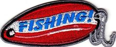 Iron On Embroidered Applique: #FISHING #patch on fishing lure shape w/hooks. Size: 2 3/4 x 1 18. . Heat seal appliques areeasy to place on a garment, tote bag, pl...