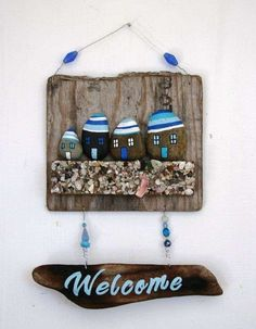 Driftwood Welcome Sign with rocks shells and Sand 'N Sea Properties LLC, Galveston, TX by PeaceLoveDriftwood. Driftwood Signs, Driftwood Projects, Driftwood Art, Hobbies And Crafts, Diy And Crafts, Arts And Crafts, Stone Crafts, Rock Crafts, Crafts With Rocks