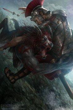 Zems - Double Edge Art by Jackson Tjota Fantasy Battle, Fantasy Rpg, Dark Fantasy, Fantasy Creatures, Mythical Creatures, Apocalypse, Of Wolf And Man, Werewolf Art, Werewolf Legend