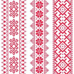 Ukrainian, Belarusian red embroidery seamless pattern - Vyshyvanka folk pattern by RedKoala Russian Embroidery, Cross Stitch Embroidery, Embroidery Patterns, Hand Embroidery, Diy Bracelets Patterns, Bead Loom Patterns, Crochet Patterns, Cross Stitch Borders, Cross Stitch Designs