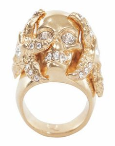 Gold Starfish Skull Cocktail Ring