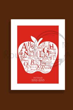 Teachers A to Z Appreciation Print  A- Personalized with Teacher's Name - Teacher Christmas Gift - School Year From Class. $20.00, via Etsy.