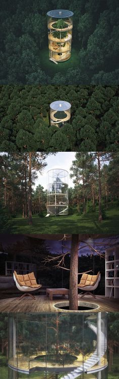 Home Built Around a Tree in a Kazakh Forest A.Masow Design Studio designed a tubular home in a Kazakh forest that includes a tree inside.A.Masow Design Studio designed a tubular home in a Kazakh forest that includes a tree inside. Architecture Cool, Landscape Architecture, Natural Architecture, Residential Architecture, Forest Design, Design Studio, Tree Designs, Exterior Design, Building A House