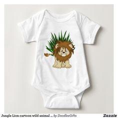 Jungle Lion cartoon wild animal unisex bodysuit