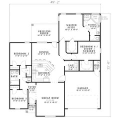 Traditional Style House Plan - 4 Beds 2 Baths 1756 Sq/Ft Plan #17-2094 Floor Plan - Main Floor Plan - Houseplans.com
