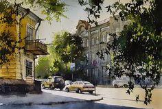 Vjacheslav Kurseev Watercolor Artists, Artist Painting, Virtual Museum, Architecture Design, Scenery, Photo Wall, Community, Inspiration, City