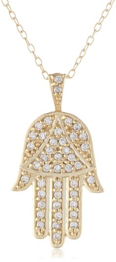 Sterling Silver and Cubic Zirconia Hamsa, Hand of God, Pendant Necklace , 18' ** Unbelievable  item right here! : Jewelry Necklaces