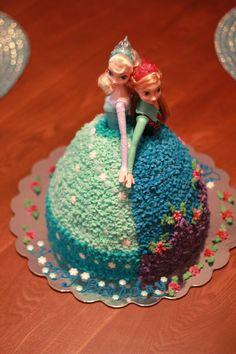 Frozen Anna and Elsa Cake. Doll Cake. Princess cake.
