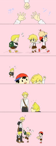 """Super Smash Bros Brawl - I like those guys like brothers or pals or something.They were playing rocks-papers-sicssors, so Lucas he taking those bags for there """"idiot"""" friend.When Link showed up, he helped Lucas to taking there bags, And Toon link mad at him. you know what, Link looks like a Father to me. :3"""