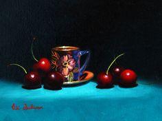 https://flic.kr/p/zcUTPu | Cherries and Pansy cup | By Vicki Sullivan#OilonBelgianlinen#Australianartist#realistpainting#Stilllife#Cherries#Teacup#Potoftea#Melbourneartist#Melbournesocietyofwomensculptorsandpainters#PortraitartistsAustralia#