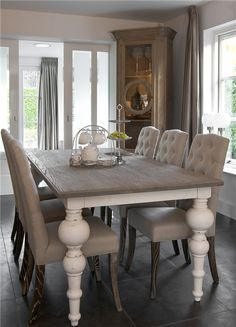 Rustic table/upholstered chairs