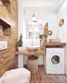 # Bathroom vinyl decor # Bathroom decor ideas small # Bathroom decor and tiles will be … – rustic home interior Laundry Room Design, Laundry In Bathroom, Small Bathroom, Bathroom Shelves, Bathroom Ideas, Design Bathroom, Wooden Bathroom, Laundry Rooms, Bathroom Vinyl