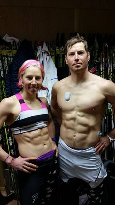 Olympic cross country skier Kris Freeman wearing an OmniPod insulin pump on his chest and a Continuous Glucose Monitor on his side.