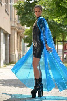 Clear Blue PVC Raincape in combination with a Latex Jump Suit Vinyl Raincoat, Blue Raincoat, Pvc Raincoat, Raincoat Jacket, Plastic Raincoat, Fetish Fashion, High Fashion, Plastic Aprons, Mini Skirt Dress