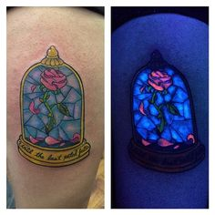 Beauty and the beast rose with some uv ink  #Inkjunkeyz#tattoos