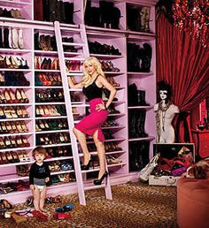 i want this closet NOW!! requirement when we build a houser....HUGE CLOSET with leopard print carpet!!
