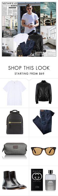 """Wardrobe Basics: Menswear"" by kittyfantastica ❤ liked on Polyvore featuring rag & bone, Versace, Tom Ford, Ray-Ban, Maison Margiela, Gucci, Seletti, men's fashion and menswear"