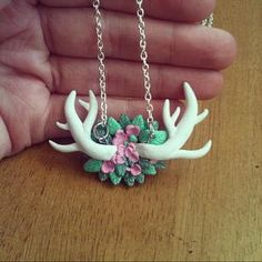 Deer Antler Pendant polymer clay by FlowerChildCharms on Etsy Check out our seasonal items & Specials!