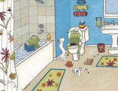Froggie Bath by Jamie Morath Art, via Flickr www.jamiemorath.com