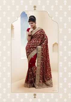 USD 86.25 Maroon Patch Work Faux Georgette Bridal Saree  32451
