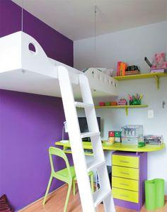 quarto infantil: aproveitando espaço de cômodos pequenos com cama suspensa sobre escrivaninha
