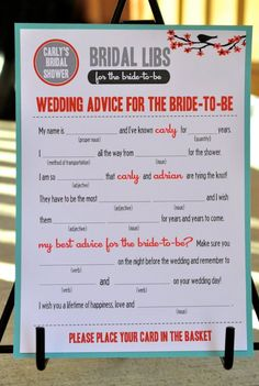 Advice mad lib -- bridal shower @Sarah Ewald