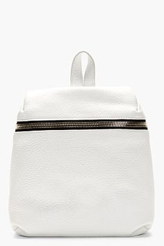 Kara White Grained Leather Small Backpack