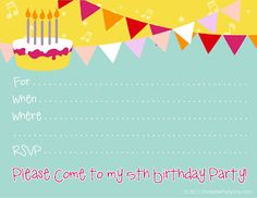 5th Birthday Party go here to download http://printablepartyinvitations.blogspot.com/2012/06/5th-birthday-party-invitations_22.html