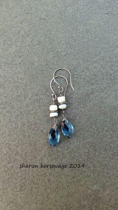 BLUE SKIES  sterling silver wrapped blue by livewirejewelrysb, $34.00