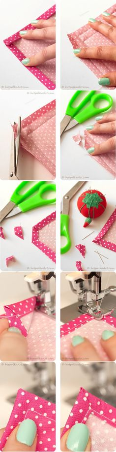 How to sew a perfect mitered corner. http://www.fiestaresistance.net/2012/01/guest-post-diy-napkin-tutorial.html