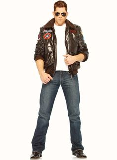 Top Gun Mens Bomber Jacket Set Costume Medium Chest Size 42 * Be Sure To  Check