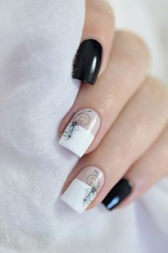 Marine Loves Polish - Flowers & Arabesques - black floral water decals - color block - negative space - classy nails