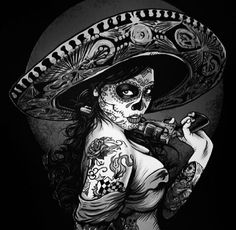 Vintage T design Lowrider Art, Mexican Skulls, Mexican Art, Sugar Skull Mädchen, Maquillage Sugar Skull, Los Muertos Tattoo, Lady Mechanika, Catrina Tattoo, Day Of The Dead Skull