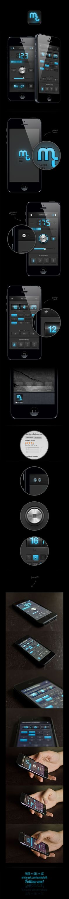Metronome app redesign / iPad, iPhone *** Metrotimer app is an iOS metronome app suitable for musicians and students. It's the most accurate app in the apple store. We've chosen the digital interface approach, to express the accuracy of the tool. *** by Dimiter Petrov, via Behance