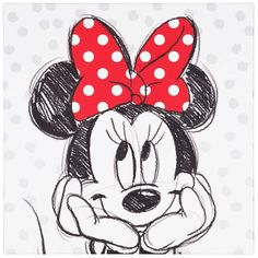 Wandbild Keilrahmen Kunstdruck 35x35 Disney Minnie Maus schwarz weiß rot - OREX