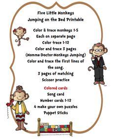 """Five Little Monkeys Jumping on the Bed"" Printable ~ Preschool Printables Scissor Practice, Monkey Jump, Five Little Monkeys, Pajama Day, Preschool Printables, New Print, Literacy, Education, Finger Family"
