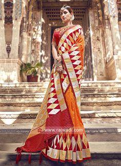 Orange and Red Banarasi Silk Saree Banarasi Sarees, Lehenga Choli, Silk Sarees, Sari, Saree Look, Latest Sarees, Bollywood Saree, Varanasi, Traditional Sarees