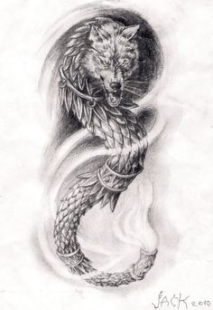 Dragonwolf arm tattoo by TattooBiter on DeviantArt God Tattoos, Baby Tattoos, Future Tattoos, Body Art Tattoos, Small Tattoos, Tatoos, Lion Tattoo, Get A Tattoo, Arm Tattoo